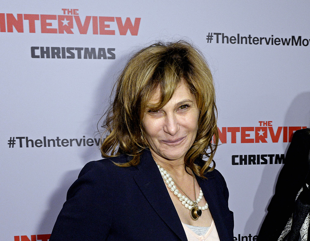 "Sony Pictures Entertainment Co-Chairman Amy Pascal poses during the premiere of ""The Interview"" in Los Angeles"